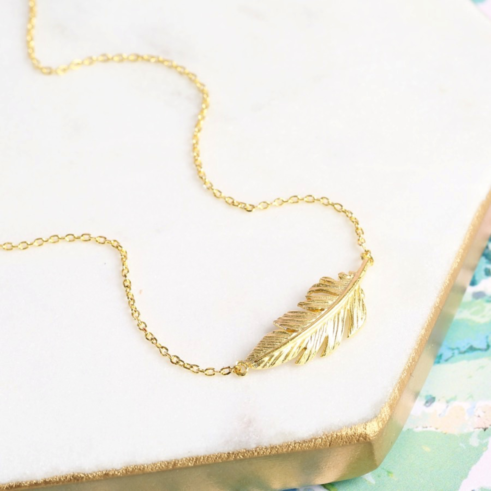 Lisa Angel Gold Feather Necklace