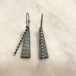 Lene Lundberg Black Triangle with White Vertical Stripes Abstract Earrings
