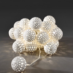 Konstsmide Light set with White Maroq metal balls, LED Mains Operated Fairy Lights