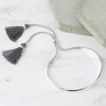 Lisa Angel Grey Tassel Bangle in Silver
