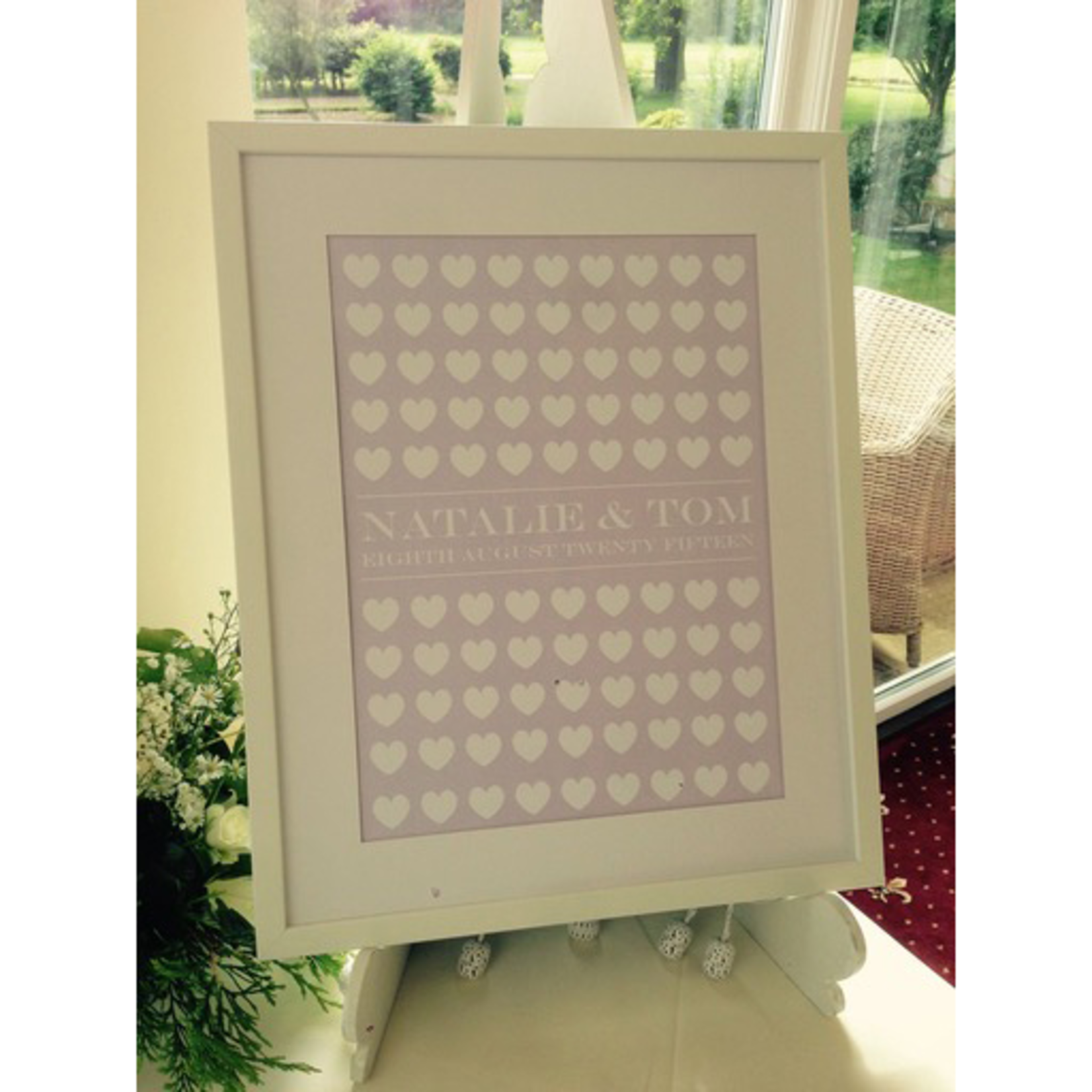 Homebird Pictures 100 Hearts Wedding Wishes Write on Heart with pens Bespoke Picture FRAME COLLECTION ONLY