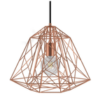 CCIT Large DIAMOND Copper Geometric Wire Naked Lampshade XL Bulb Cage - with E27 lamp holder