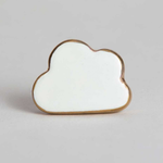 Bomb Duck Cloud knob white with gold rim