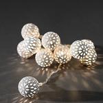 Konstsmide Lightset 10 Small Metal Maroq Balls White Battery Operated Fairy Lights