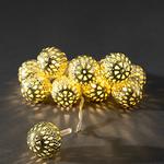 Konstsmide Lightset 10 Small Metal Maroq Balls Gold Battery Operated Fairy Lights