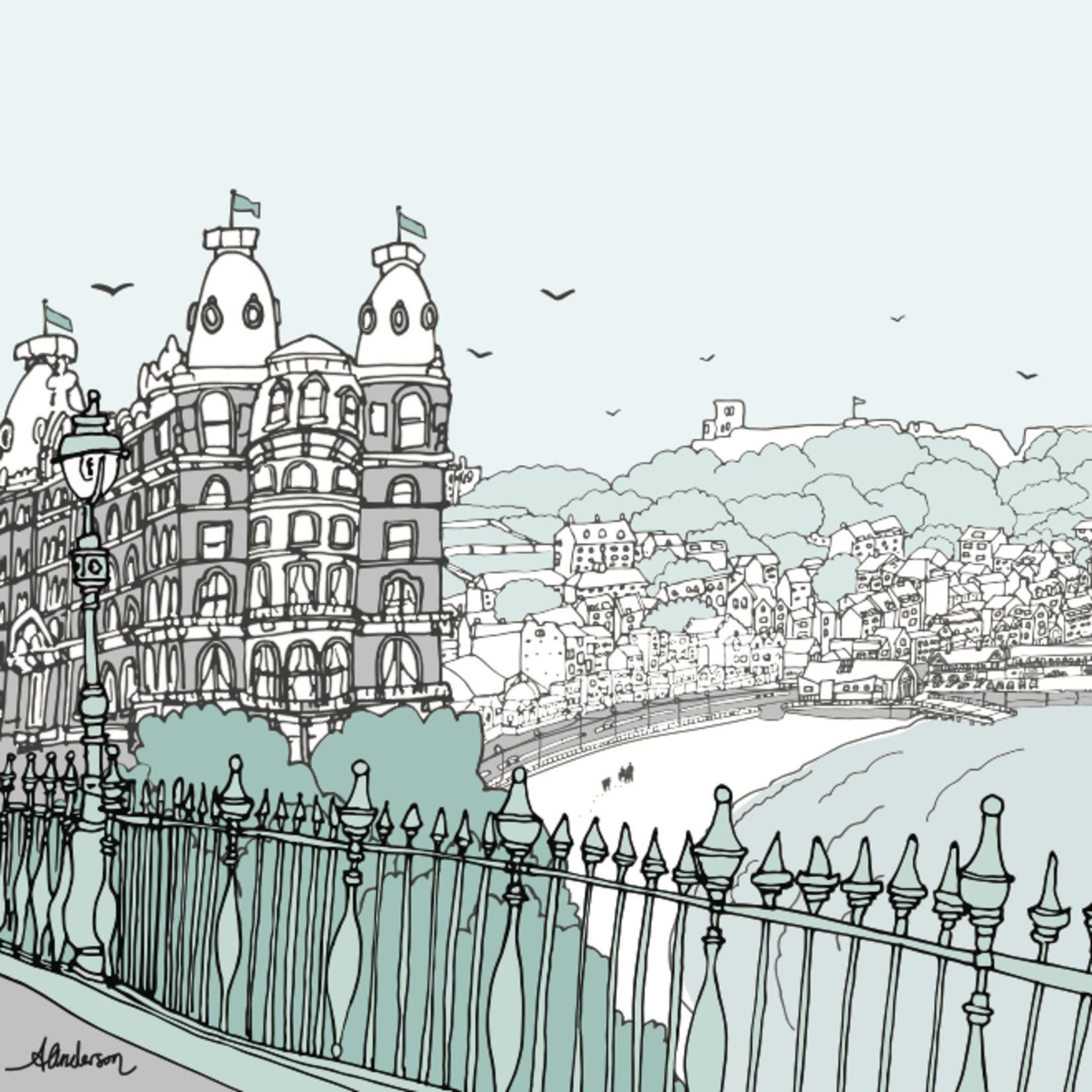 Homebird Alex Anderson Scarborough Grand Castle Illustration Square Card