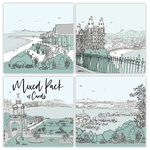 Homebird Pack of 4 Alex Anderson Scarborough Illustration Cards (1 of each design)