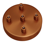 CCIT Brushed Copper 120mm 5 Hole Ceiling Rose Kit With Cylindrical matching Cable Grip.