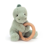 Jellycat Jellycat Shooshu Dino Wooden Ring Toy Rattle RETIRED