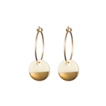 One & Eight Porcelain Disc Earrings - Gold Dipped on Gold Hoops