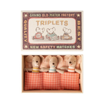 Maileg Maileg Baby mice, Triplets in matchbox - checked bedding