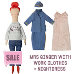 Maileg Maileg Size 2 Ginger Mum with Stewardess Outfit and nightdress
