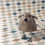 Fiona Walker Fiona Walker Small Standing Triangle Silver/Grey and Cream Sparkle Bird
