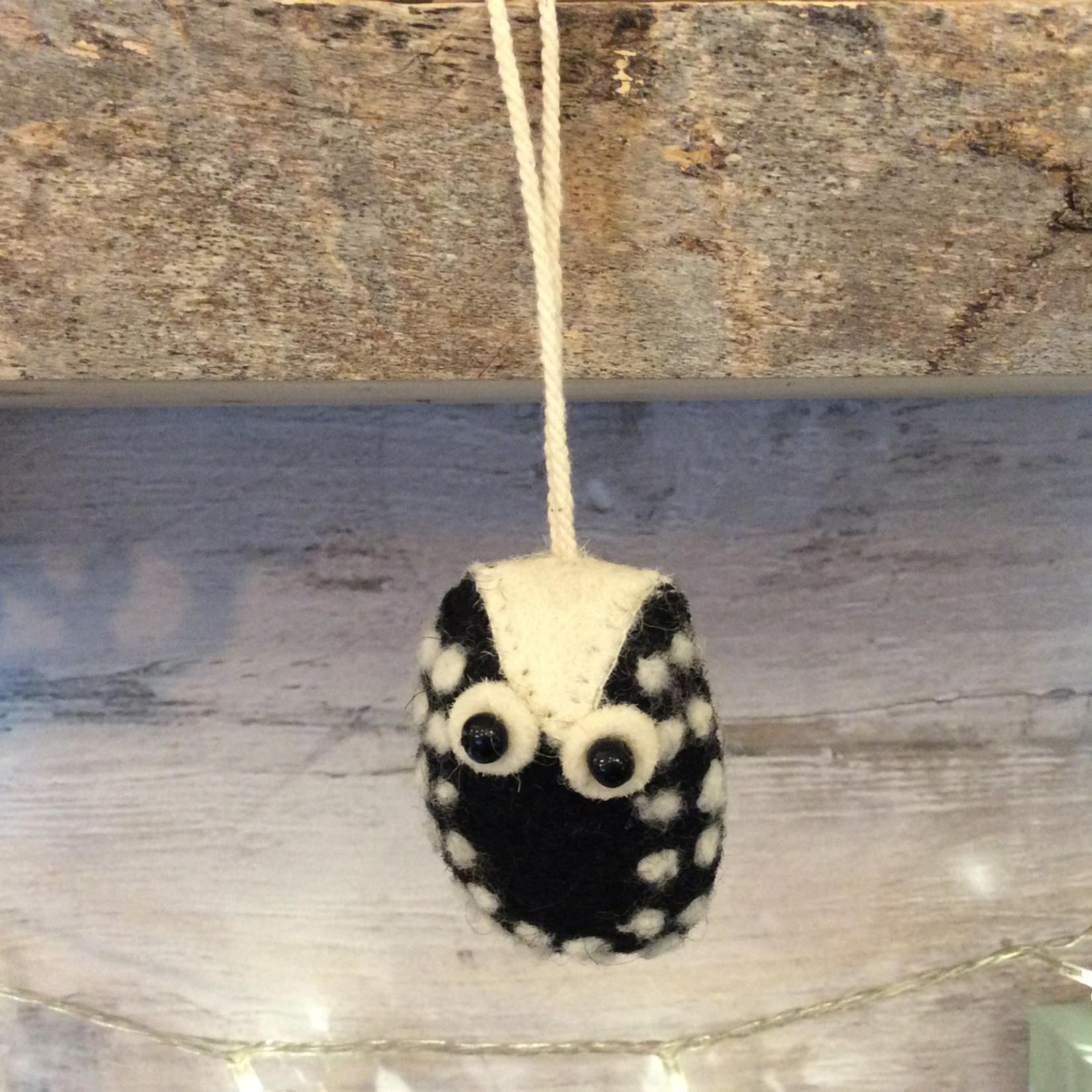 Fiona Walker Fiona Walker Mini Hanging Owl 4 Black With White Spots