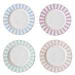 Bomb Duck Stripy Tea Plates Pastels Set of 4