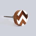 BoDuck Chevron Mixed Media Knob Wood/White Resin Round