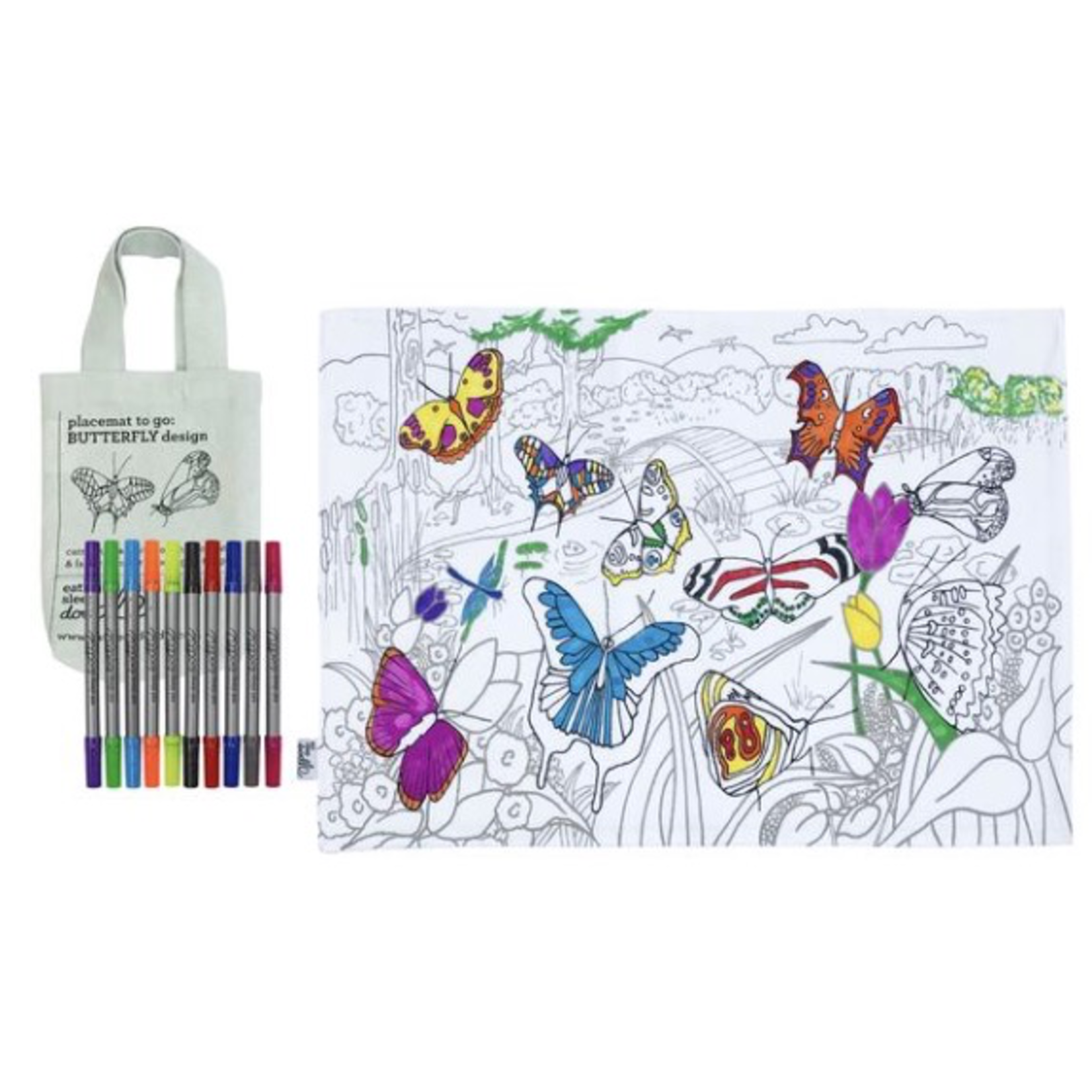 Eat Sleep Doodle Butterfly doodle placemat to go comes in a handy bag with washable pens