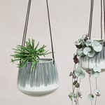 Nk Matamba Ceramic Hanging Planter - Black Lines Plant Pot - Large 12 X 14cm (dia)