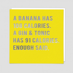 Redback Cards Banana and Gin Calories Card