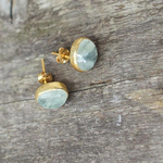 Nkuku Prehnite Stud Earrings - Gold 1.2x1cm dia