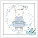 Homebird Bespoke Homebird Bespoke Personalised Square BUNNY Illustration - Choose Colour Duckegg / Blue / Pink