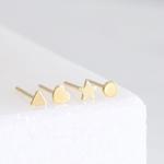 Lisa Angel Set of 4 Tiny Gold Sterling Silver Shape Earrings