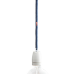 Nud NUD Classic E27 Pendant Holder in White Ceramic with Denim Cable and unattached plug.