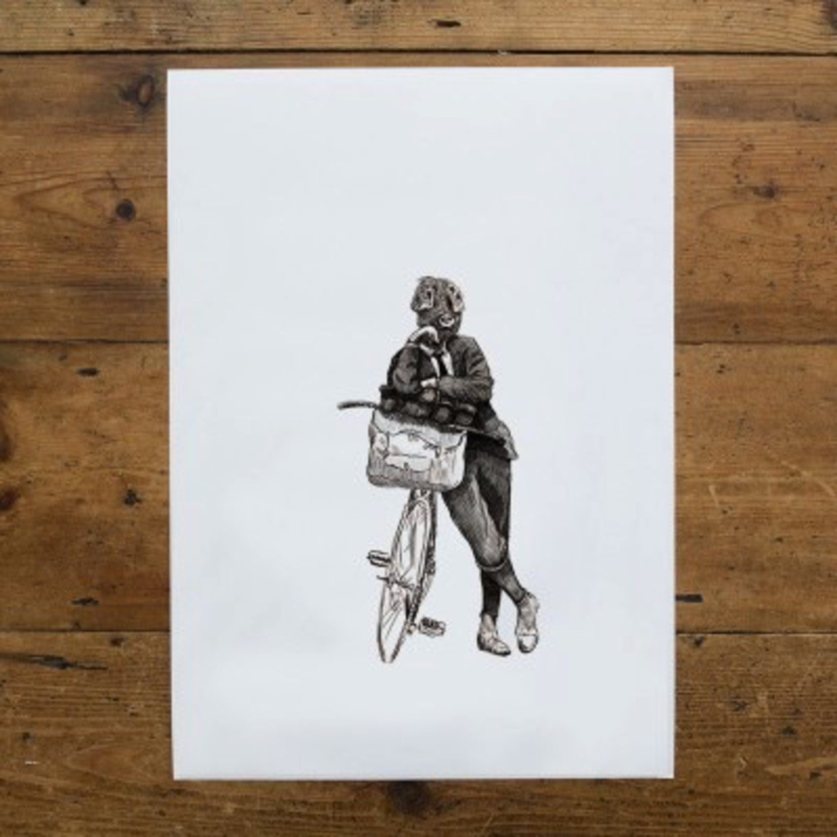 Ben Rothery Illustrator Ben Rothery A4 Print Wilbur Pig Black and White