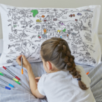 Eat Sleep Doodle The World Map Doodle Pillowcase to Go (Colour in Pillowcase)