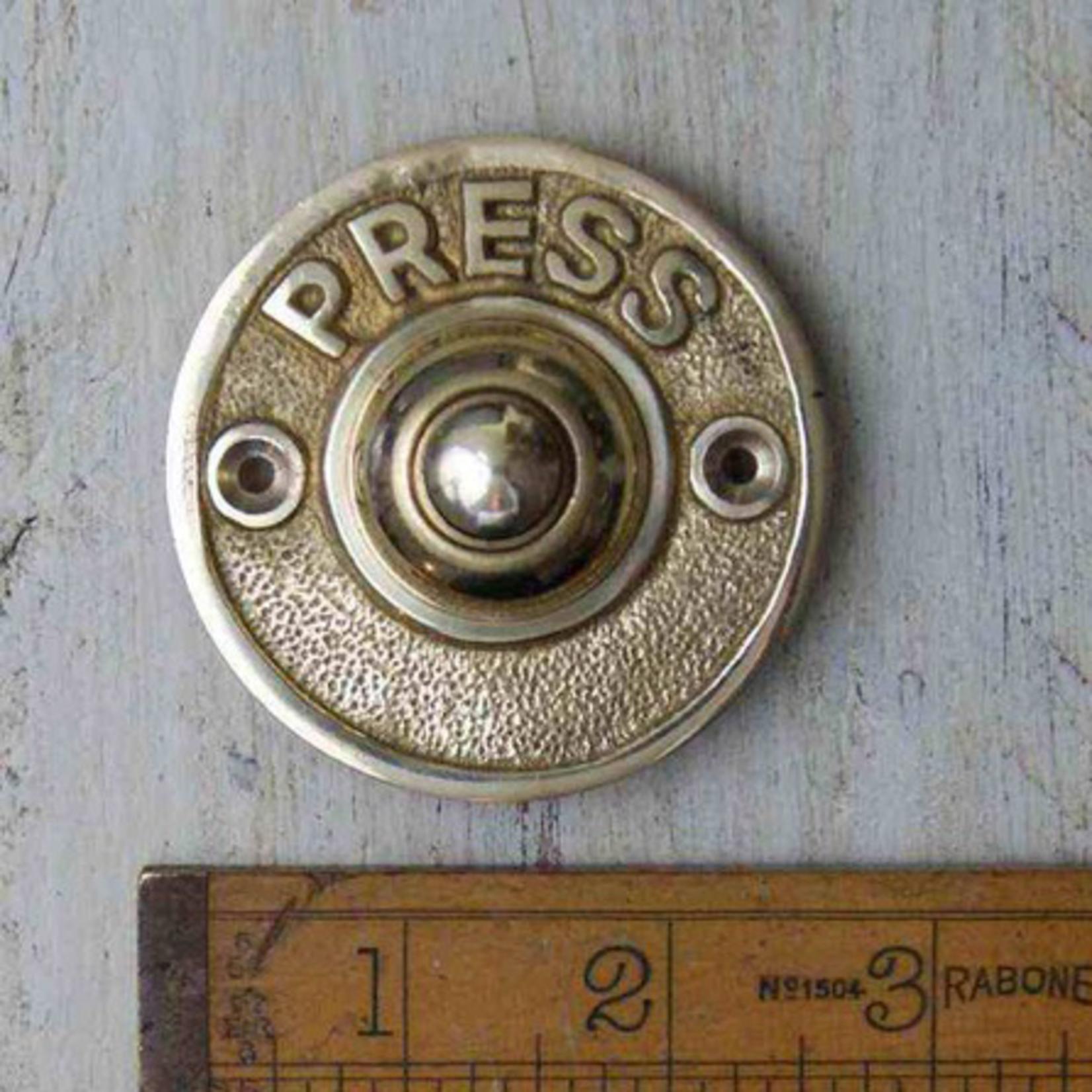 IRON RANGE Door Bell Push 'PRESS' Round Solid Brass