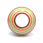 Pushka White Knob & Multi Colour Stripe Ceramic Cupboard Knob