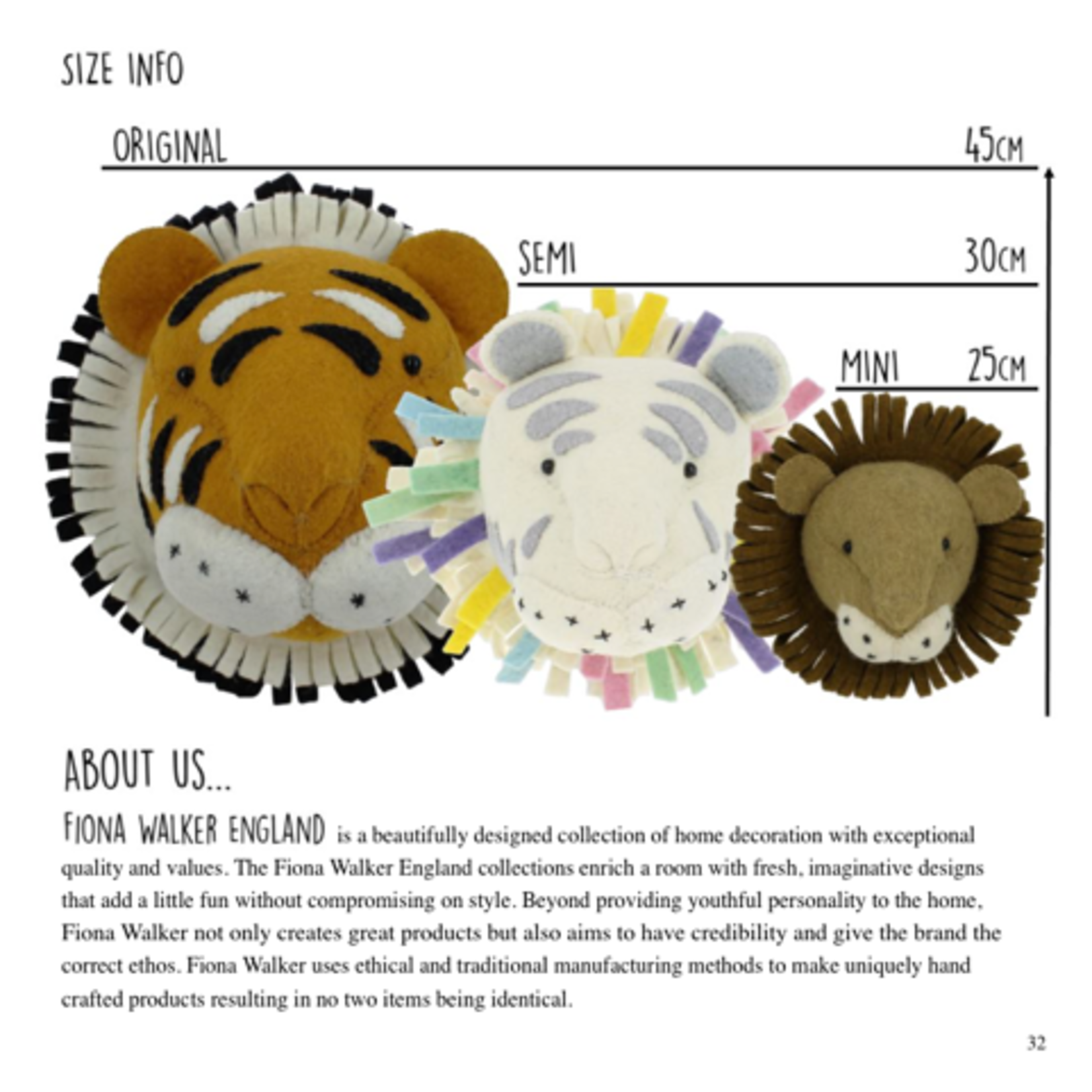 Fiona Walker Fiona Walker Semi Pastel Safari Tiger Head