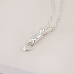 Lisa Angel Stretching Cat Necklace in Silver