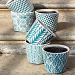 Grand Illusions Old Style Dutch Pot Teal 6 Asst Designs 14x14x12cm