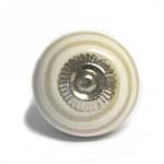Pushka White With Beige Swirl Ceramic Cupboard Pin Knob