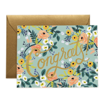 Rifle Rifle Blue Meadow Congrats Card with gold foil and gold envelope