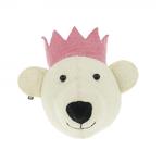 Fiona Walker Fiona Walker Mini White Bear Head with Pink Crown