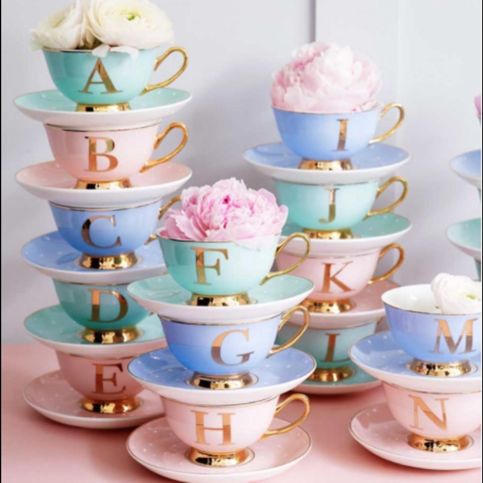 BoDuck Alphabet Spotty Teacup and Saucer Letter V Gold/Mint