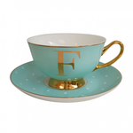 Bomb Duck Alphabet Spotty Teacup and Saucer Letter F Gold/Mint