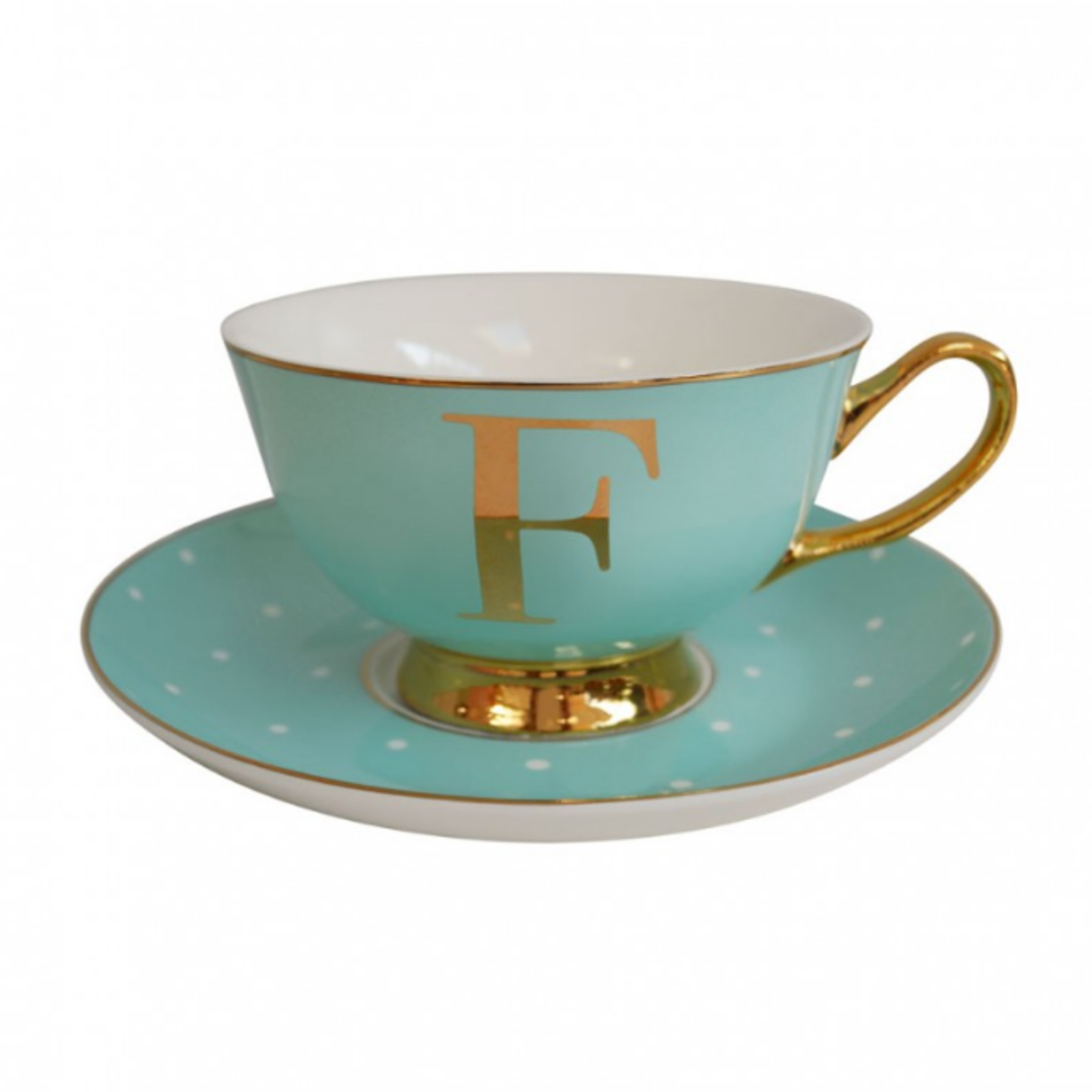 BoDuck Alphabet Spotty Teacup and Saucer Letter F Gold/Mint