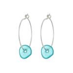 One & Eight Aqua Seaglass Silver Hoop Earrings