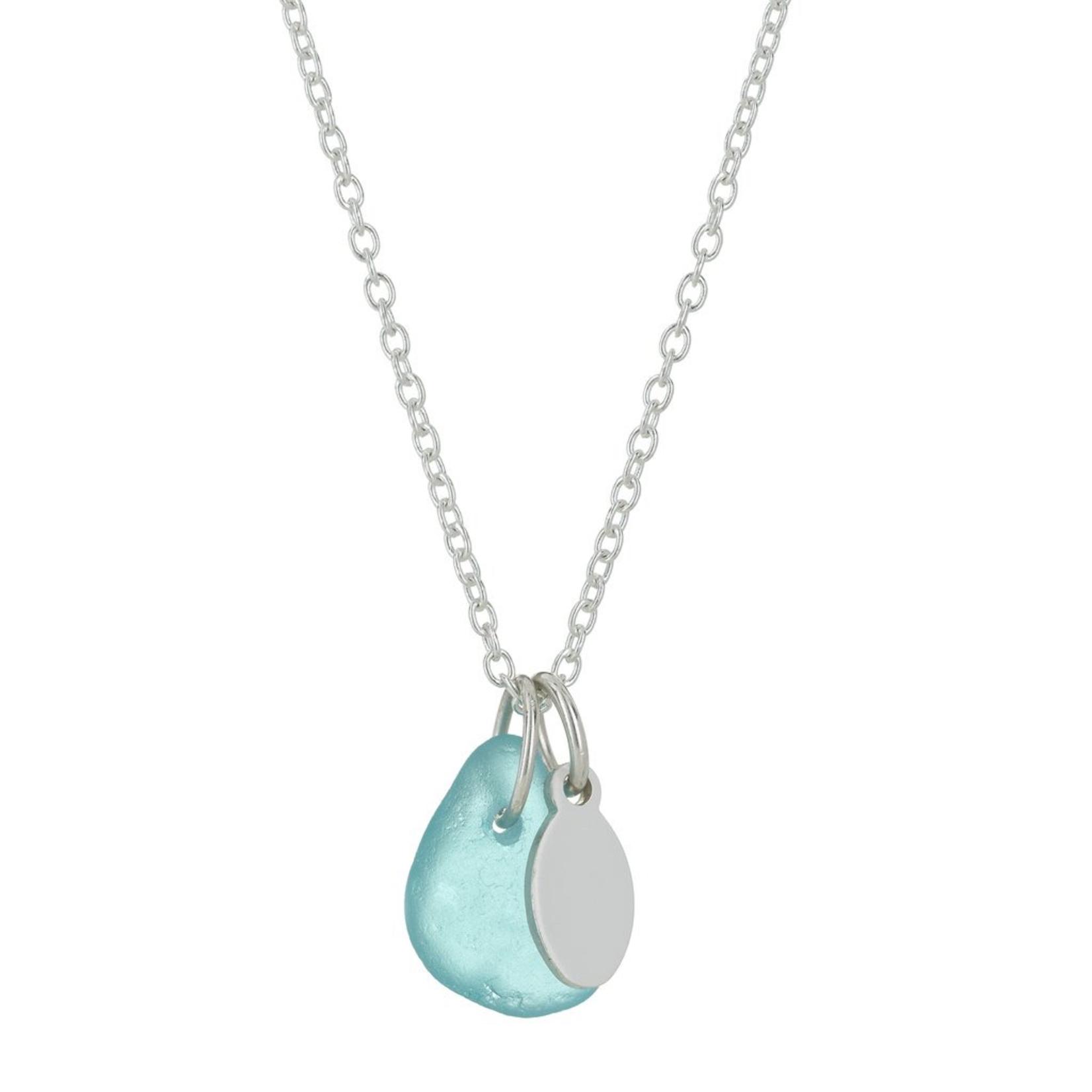 One & Eight Aqua Seaglass Silver Necklace
