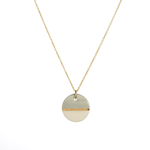 """One & Eight Porcelain Disc Necklace - Grey Dipped on Gold 16-18"""" Chain"""
