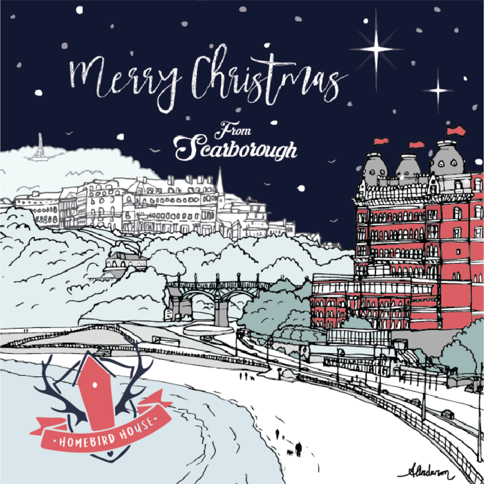 Homebird Cards ALEX ANDERSON 2020 CHRISTMAS CARD ILLUSTRATION SCARBOROUGH OLIVERS MOUNT
