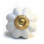 Pushka White Knob & Gold Fixing Mushroom Ceramic Pin Knob