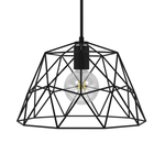 CCIT Dome XL Naked Geometric Lampshade - Black metal with E27 lamp holder