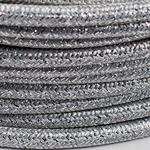 CCIT Per Metre - Round textile cable weaved Silver foil flex 3 core 0.75cm Diameter