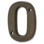 HILL INTERIORS Rustic Brown Cast Iron House Number '0'