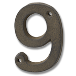 HILL INTERIORS Rustic Brown Cast Iron House Number '9'