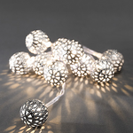 Konstsmide Lightset 10 Small Metal Maroq Balls Silver Battery Operated Fairy Lights